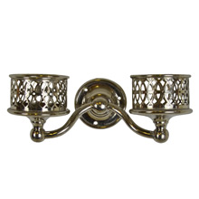 Ornate 2-Arm Nickel-Plated Cup Holder c1910s