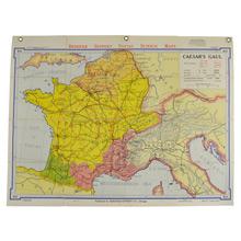 Mid-Century Denoyer-Geppert Map Book of Caesars Gaul c1956