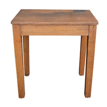 Solid Oak School Desk w/ Covered Inkwell c1920s