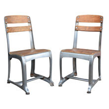 Pair of Schoolhouse Chairs by American Seating Co C1930