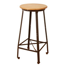Industrial Factory Stool w/ Maple Seat c1920s