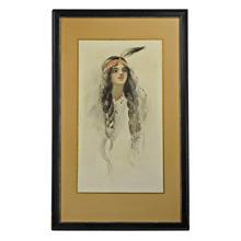 Framed Native American Girl Print c1940
