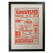 Framed Lucha Libre Wrestling Poster Mask v Beard c1960