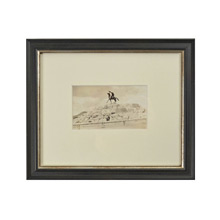 Vintage Framed Photo of Military Statue c1930s