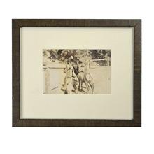 Vintage Framed Photo of Man w/ Reindeer c1930s