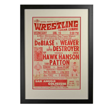 Framed Lucha Libre Tag Team Wrestling Poster c1960