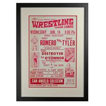 Framed Lucha Libre Wrestling Poster Triple Header c1960