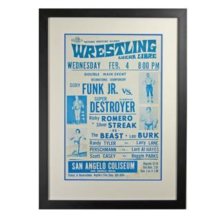 Framed Lucha Libre Wrestling Poster Funk v Destroyer c1960