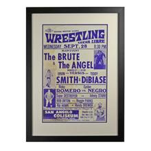 Framed Lucha Libre Wrestling Poster Brute v Angel c1960