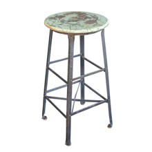 Tall Industrial Stool w/ Painted Maple Seat c1920