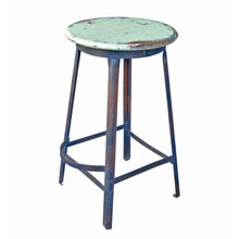 Tall Industrial Stool w/ Painted Oak Seat c1920