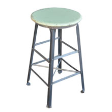 Industrial Stool w/ Mint-Green Painted Seat c1920