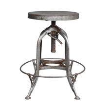 Adjustable Height Toledo Factory Stool in Raw Steel c1930