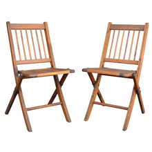 Pair of Vintage Meeting Hall Folding Chairs c1930s