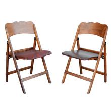 Pair of Maple Folding Chairs w/ Vinyl Seats c1930s