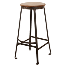 Industrial Stool w/ Oak Seat and Footrest c1925