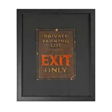 Framed Exit Only Sign c1935