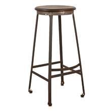 Industrial Stool w/ Wood Seat and Footrest c1925