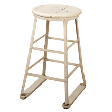 Painted White Factory Stool c1930