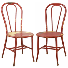 Pair of Red Painted Examination Room Chairs c1920