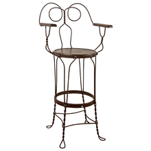 Tall Wire Work Stool w/ Arms c1925