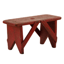 Rustic Red-Painted Bench c1920