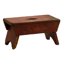 Petite Red-Painted Primitive Bench c1910