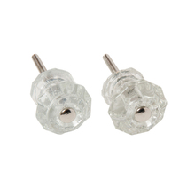 Pair of Tiny Glass Cabinet Knobs c1900