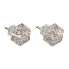 Two Small Glass Cabinet Knobs c1900