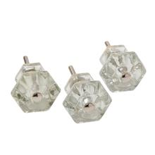 Three Classic Glass Hexagonal Knobs c1900