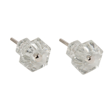 Pair of Classic Glass Hexagonal Cabinet Knobs c1900