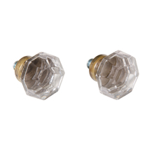 Pair of Glass and Brass Octagonal Knobs c1900