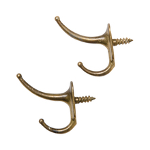 Pair of Brass Plated Hooks w/ Integral Screws c1910