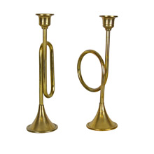 Pair of Brass Plated Trumpet Candlestick Holders c1940s