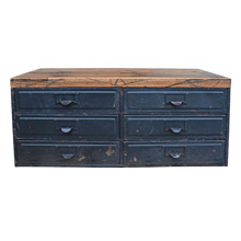 6 Drawer Parts Cabinet w/ Salvaged Oak Top c1930s