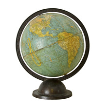 9 Inch Terrestrial Globe on Iron Stand c1940s