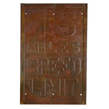Rusted 15 MPH Speed Limit Sign c1930