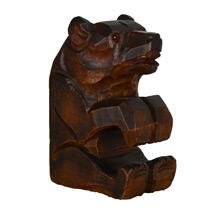 Hand-Carved Bear Match Stick Holder c1950s