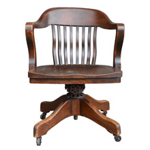 Beautiful Stained Oak Library Chair on Casters c1915