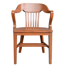 Solid Oak Library Armchair w/ Rounded Back c1935