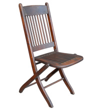 Dark Stained Spindle-Backed Folding Chair c1910