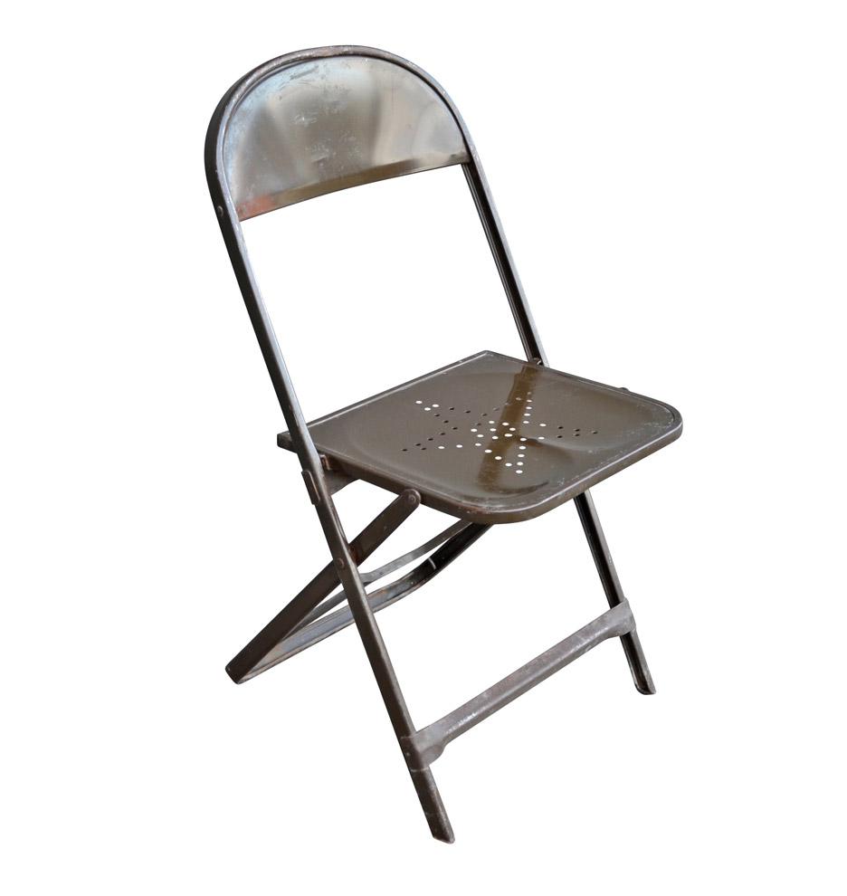 Metal Folding Chair W Star Motif Rejuvenation
