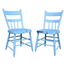 Pair of Blue-Painted Kitchen Chairs c1930s