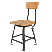 Factory Chair w/ Oak Seat and Backrest c1930