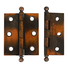 Pair of 2.5 In. Japanned Copper Cabinet Hinges c1900