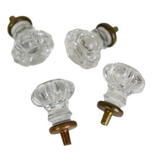 Set of 4 Scalloped Glass Cabinet Knobs w/ Brass Collars c1920