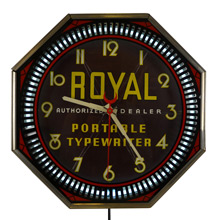 Royal Typewriter Advertisement Neon Spinner Clock by Neon Products c1937