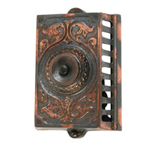ORNATE CAST IRON SURFACE-MOUNT DOORBELLS, c1890