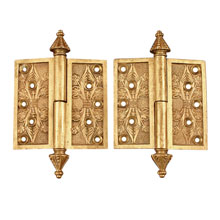 PAIR OF ORNATE BRONZE 4IN HINGES, PATENT 1869