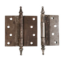 "PAIR OF 3-7/8"" STEEL STEEPLE-TIP HINGES c1895"